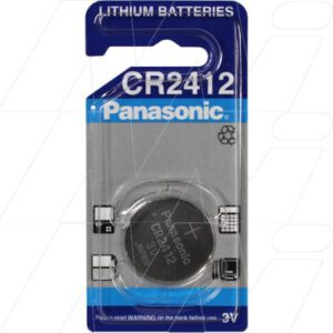 3V Button / Coin Consumer Lithium Manganese Dioxide Cell 100mAh, Panasonic, CR2412-BP1(P)
