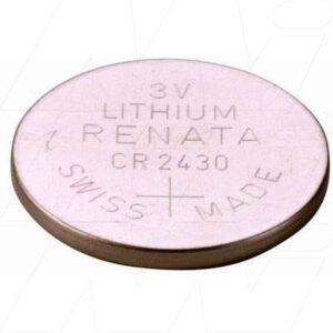 3V 285mAh Button / Coin CR2430 (R) Lithium Manganese Dioxide Cell, Renata
