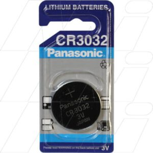 3V Button / Coin Consumer Lithium Manganese Dioxide Cell 500mAh, Panasonic, CR3032-BP1(P)