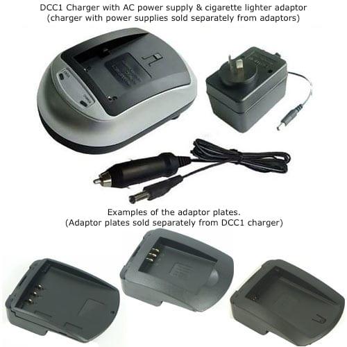 Lithium Ion Digital Camera Battery Charger 240VAC SAA power supply & 12VDC car plug, DCC1
