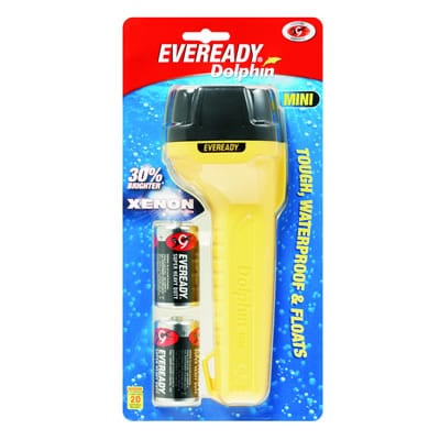 Energizer Torch Dolphin Mini Light with 2 D size batteries -Handy Waterproof light, DOL2D2