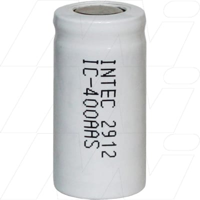 1.2V 2/3AA Nickel Cadmium - NiCd Industrial High Capacity NiCd Cylindrical Cell, 400mAh, Intec, IC400AAS