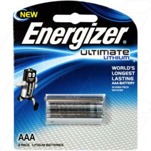 1.5V AAA 2 Pack Consumer Lithium Battery Cylindrical Cell 1.25Ah, 2PC, Energizer, L92-BP2