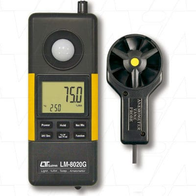 Lutron 4 in 1 Green Meter with power provided by winding. Anemometer, Hygrometer, Light Meter & Thermometer, LM8020G