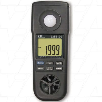 Lutron 4 in 1 professional measuring instrument, Anemometer, Humidity Meter, Light Meter, Thermometer, LM8100+CA03