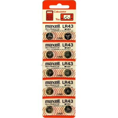 1.5V Button / Coin Alkaline Specialised Button / Coin Cell 65mAh, Maxell, LR43-BP10