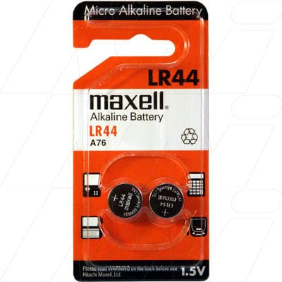 1.5V 80mAh Button / Coin LR44 BP2 Alkaline Specialised Cell, Maxell