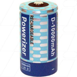 1.2V D Nickel Metral Hydride - NIMH Consumer Rechargeable Battery Cylindrical Cell, 10000mah, Powerizer, MH-D10000