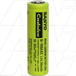 1.2V AA Nickel Cadmium - NiCd Industrial Extended Service Life Cylindrical Cell , 7000mAh, Panasonic, N700AAC