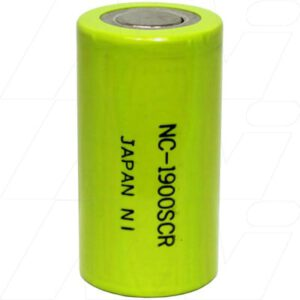 1.2V Sub C Nickel Cadmium - NiCd Industrial Fast Charge Cylindrical Cell, 1900mAh, Panasonic, NC1900SCR