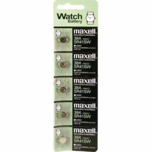 1.55V Silver Oxide Button / Coin Cell 45mAh, Maxell, SR41SW-BP5