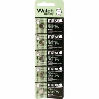 1.55V 45mAh Button / Coin Cell SR41SW BP5 Silver Oxide, Maxell