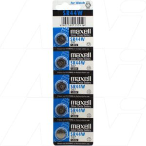 1.55V Button Silver Oxide Watch Batteries Cell, 145mAh, Maxell, SR44W-BP5 (M)