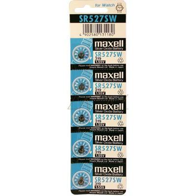 1.55V 17mAh Button / Coin Cell SR527SW BP5 Silver Oxide, Maxell