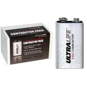 9V Specialised Consumer Lithium Battery In Contractor Pack.1.2Ah, Ultralife, U9VL-JP-10CP
