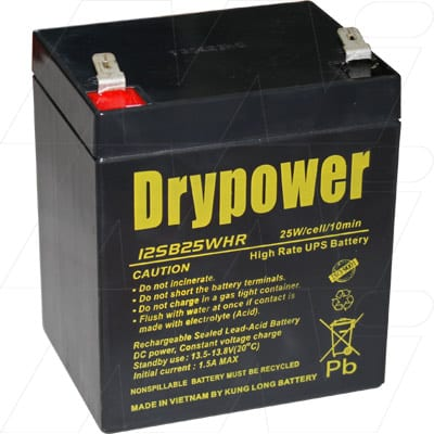 12V 5000mAh SLA Powerware UPS 12SB25WHR Battery