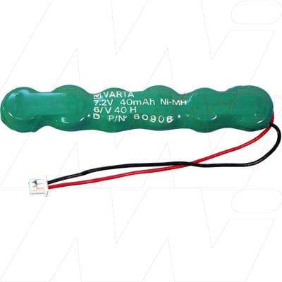7.2V RBC Nickel Metal Hydride - NIMH Button / Coin Battery Pack, 40mAh, Varta, 6/V40H Laptop