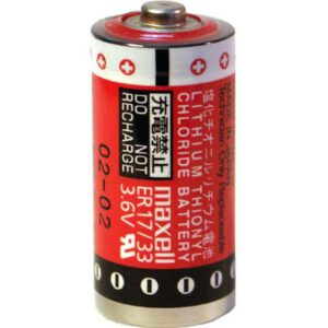 3.6V 2/3A Lithium Thionyl Chloride Cylindrical Cell suitable for Memory Backup, 1600mAh, Maxell, ER17/33#5TC