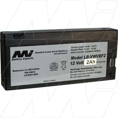 Panasonic AFX6 Survey Equipment Battery, 12V, 2Ah, SLA, LB-VWVBF2