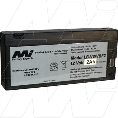 Polaroid PR-1250LA Survey Equipment Battery, 12V, 2Ah, SLA, LB-VWVBF2