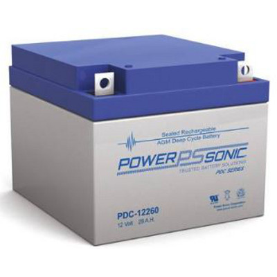 12V 28Ah Powersonic AGM Deep Cycle Sealed Lead Acid (SLA) Battery, PDC-12260
