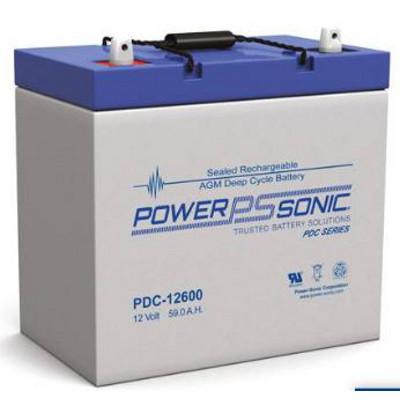 12V 59Ah Powersonic AGM Deep Cycle Sealed Lead Acid (SLA) Battery, PDC-12600