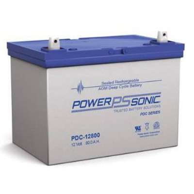 12V 80.4Ah Powersonic AGM Deep Cycle Sealed Lead Acid (SLA) Battery, PDC-12800