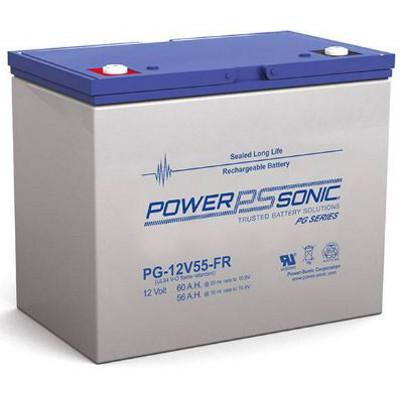 12V 56Ah Powersonic AGM Long Life Sealed Lead Acid (SLA) Battery, PG-12V55 FR