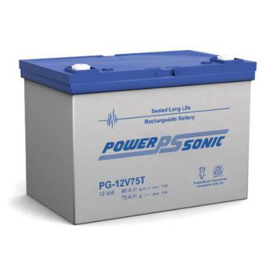 12V 75Ah Powersonic AGM Long Life Sealed Lead Acid (SLA) Battery, PG-12V75T FR