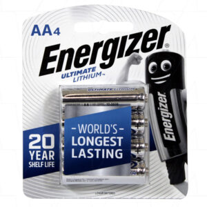 1.5V AA 4 Pack Consumer Lithium Battery Cylindrical Cell 3Ah, Energizer, L91 BP4T