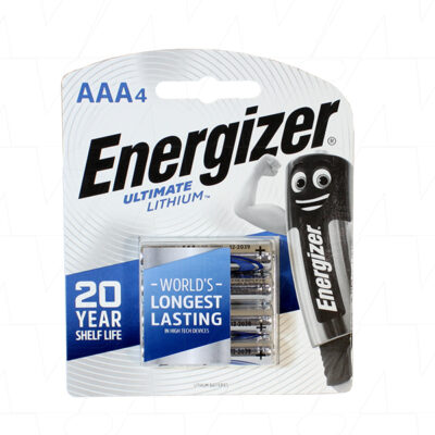 1.5V AAA 4 Pack Consumer Lithium Battery Cylindrical Cell 1.25Ah, Energizer, L92-BP4
