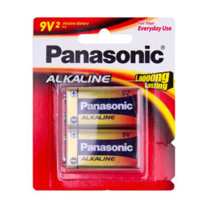9 VOLT Panasonic Alkaline 6LR61T/2B Battery, 2 Pack
