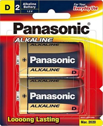 1.5V D Size Panasonic Alkaline LR20T/2B Battery, 2 Pack