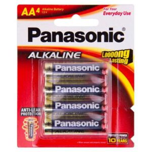 1.5V AA Panasonic Alkaline LR6T/4B Battery, 4 Pack
