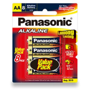 1.5V AA Panasonic Alkaline LR6T/8B Battery, 8 Pack