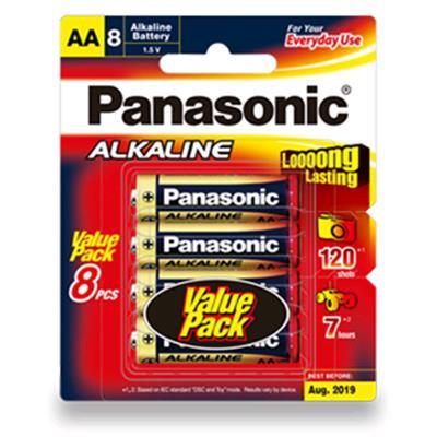 1.5V AA Panasonic Alkaline LR6T/8B Battery, 8 Pack