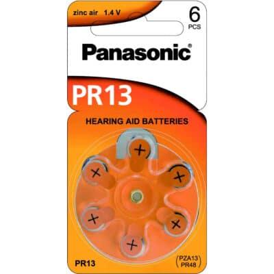 1.4V PR48 Zinc Air Hearing Aid Battery PR-13HEP/6C, Panasonic, 6 Pack