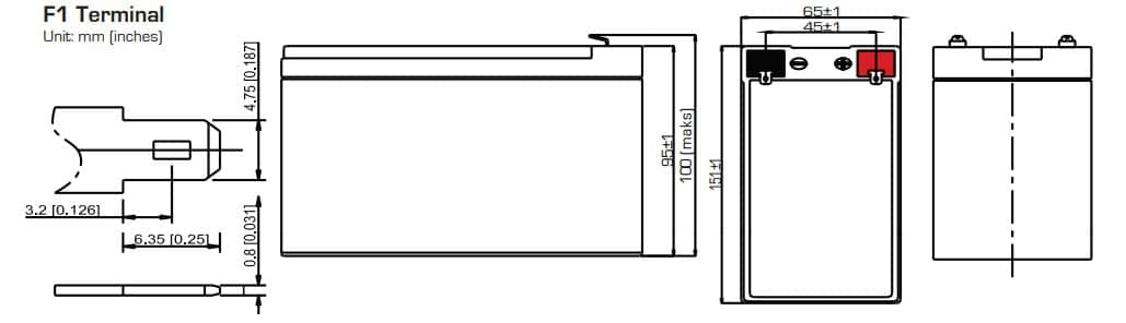 SA12V7 12V 7Ah VRLA Battery Dimensions